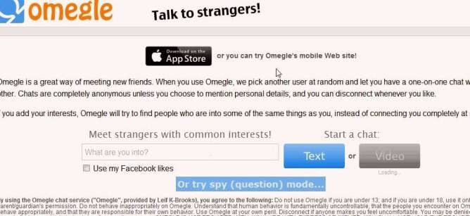 Omegle talk to strangers on video
